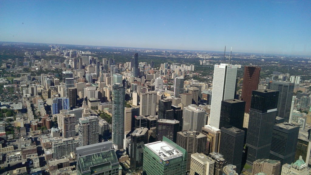 The view of Toronto from the top of the CN Tower.