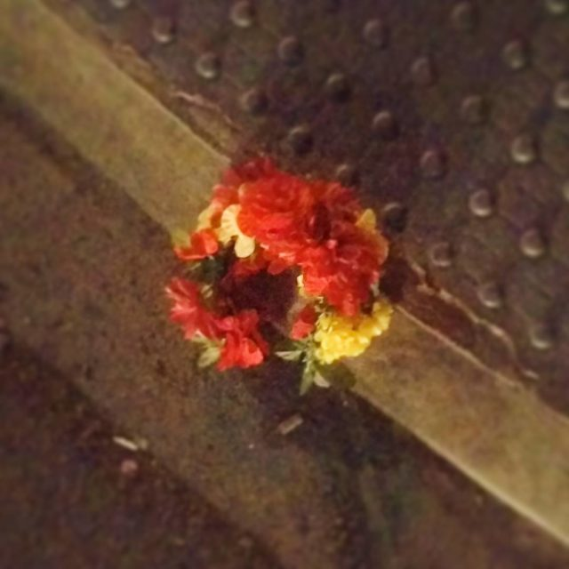 Flowers left on the curb