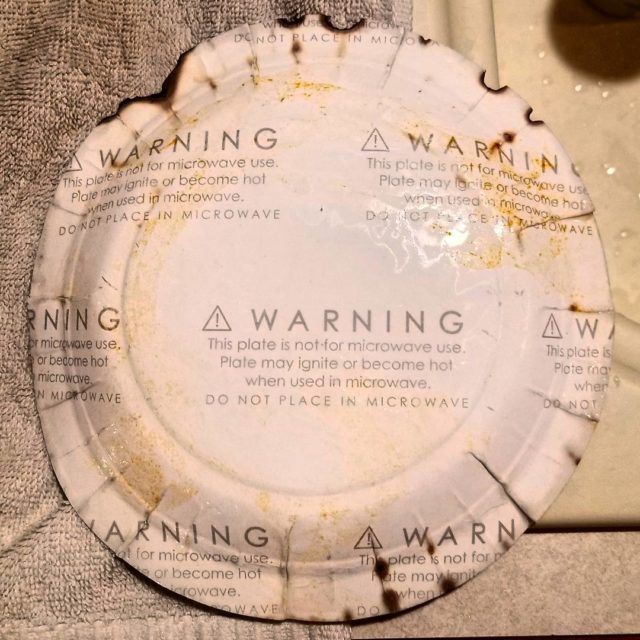 This paper plate came with a warning printed on thehellip
