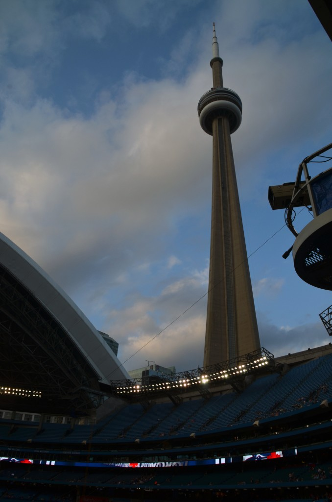 The CN Tower Looks Down on the Rogers Centre